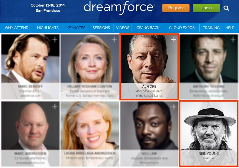 Neil Young, Al Gore auf Dreamforce Conference 2014