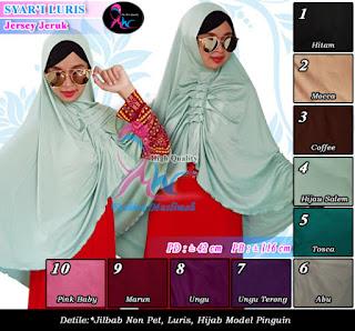 Jilbab syari luris murah banget bahan jersey jeruk model pinguin