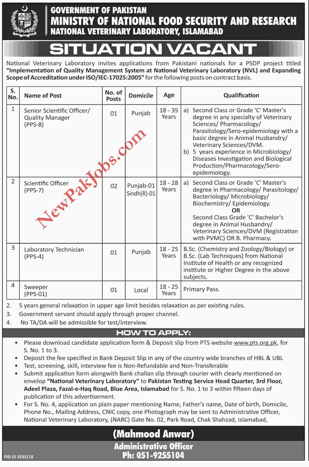 PTS New Project Jobs in Ministry of National Food Security