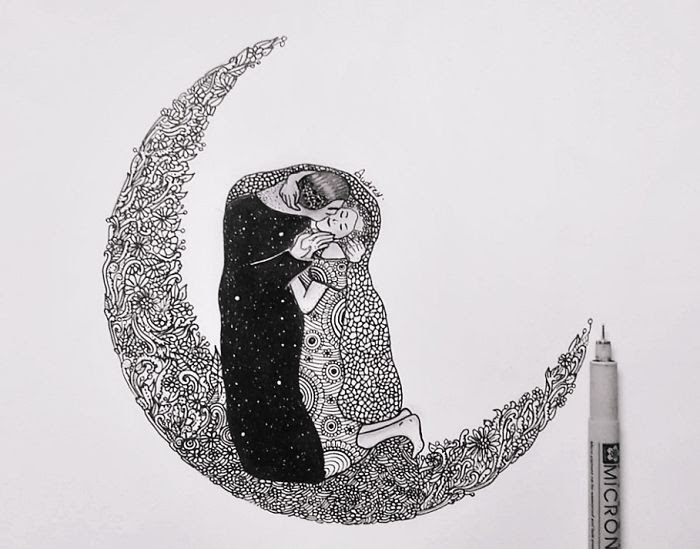 07-The-Kiss-by-Gustav-Klimt-Poonam-Saha-Zentangle-Old-Masters-and-Works-of-Art-Drawings-www-designstack-co
