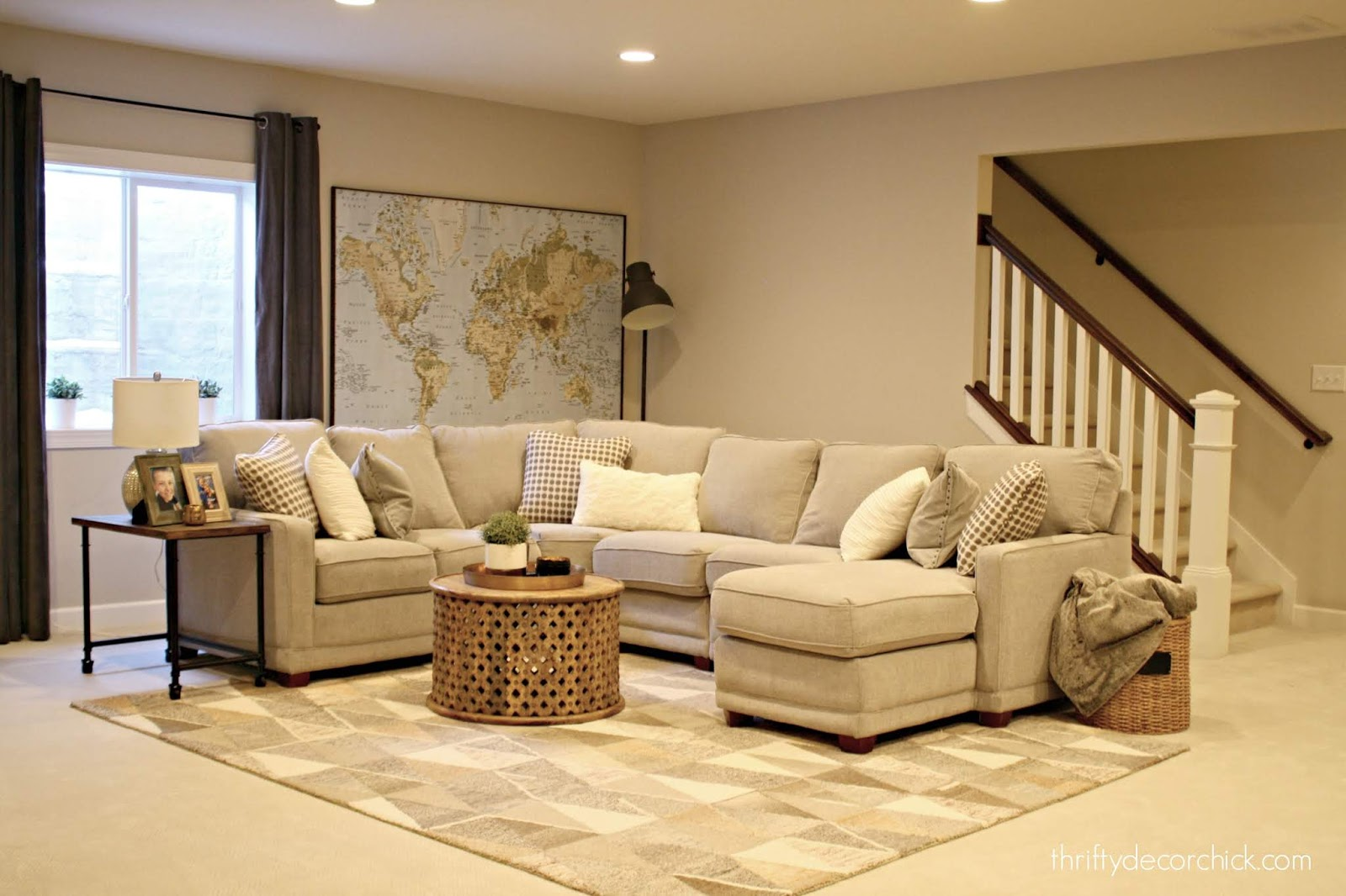 Basement family room with sectional