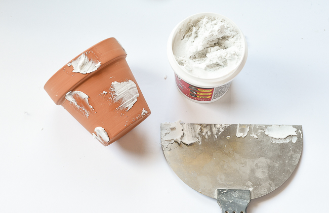 Add spackling to Terra Cotta clay pots