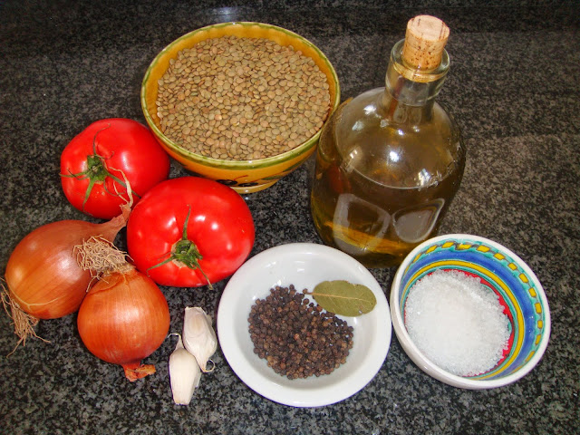 "Ingredients for ""Fakes"" Greek lentil soup."