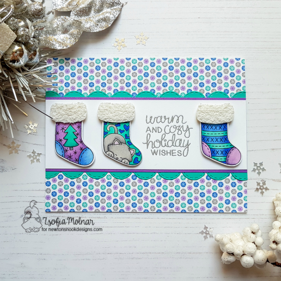 Cozy Christmas Stocking Card by Zsofia Molnar | Holiday Stockings Stamp Set, Stylish Stockings Die set and Sky Borders Die Set by Newton's Nook Designs #newtonsnook #handmade