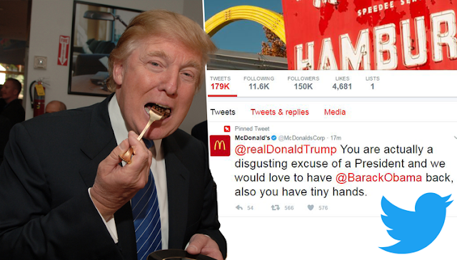 McDonald's tweets to Donald Trump has tiny hands
