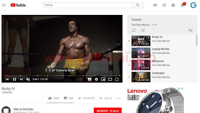 YouTube film gratuito con pubblicità