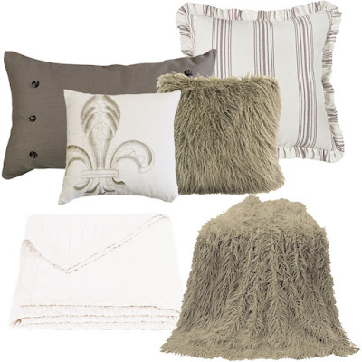 White linen quilt, Prescott striped Eruo, Piedmont Pillow, Newport Fluer De Lis pillow, Monoglian Fur in taupe