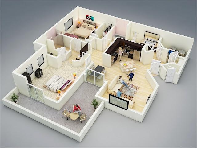 Planta de casa grande com área de lazer