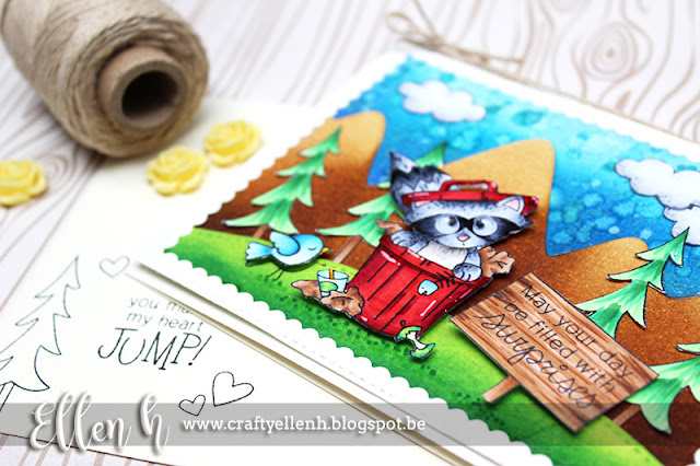 Raccoon Forest Card by September Guest Designer Ellen Hax | Raccoon Rascal and Winter Tails Stamp Sets by Newton's Nook Designs #newtonsnook