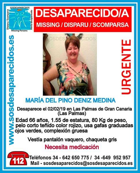María del Pino Déniz Medina, mujer desaparecida en Las  Palmas de Gran Canaria y que necesita medicación