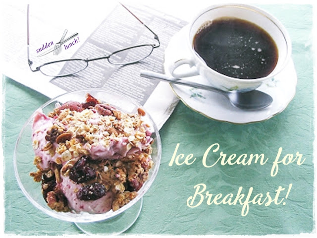 homemade blueberry ice cream with granola for breakfast