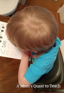 Completing a mathematics worksheet