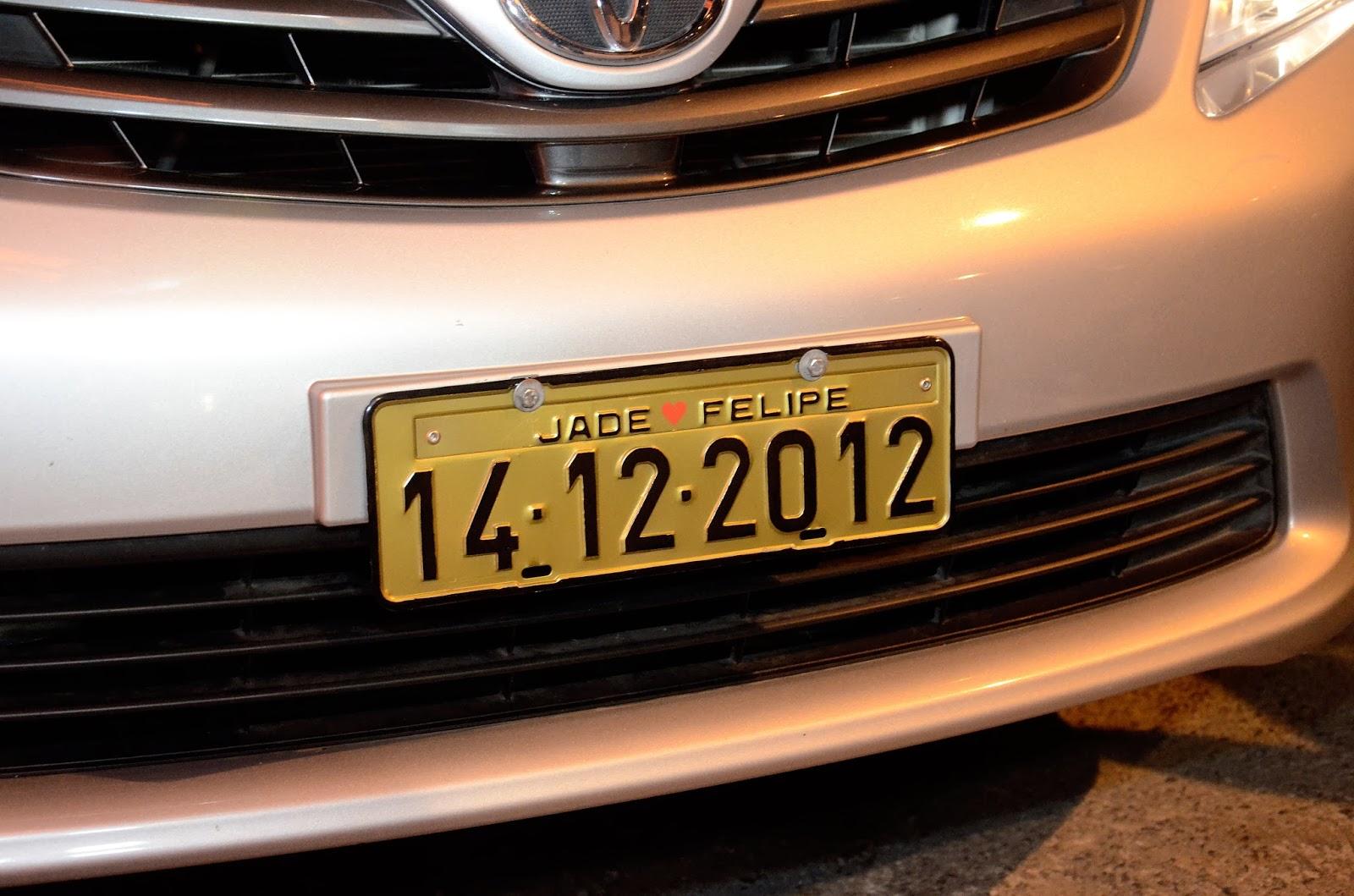carro - carro da noiva - placa para carro  - placa personalizada