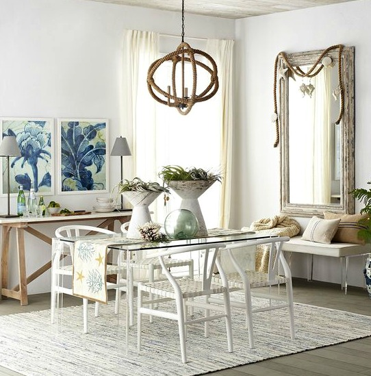 Elegant Beach House Decor: Elegant Airy Beach Theme Dining Room