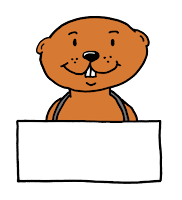 Groundhog clip art holding a sign with funny big front teeth