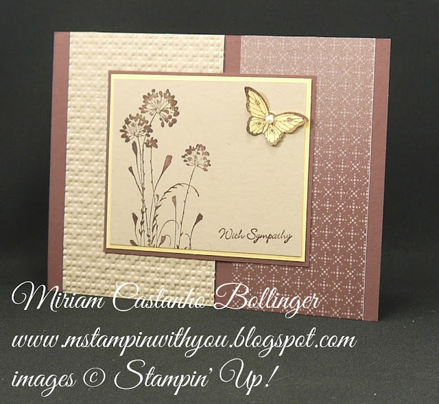 Miriam Castanho-Bollinger, #mstampinwithyou, stampin up, demonstrator, mm, sympathy card, sweater weather, serene silhouettes, teeny tiny wishes stamp set. big shot, papillon potpourri, bitty butterfly punch, su