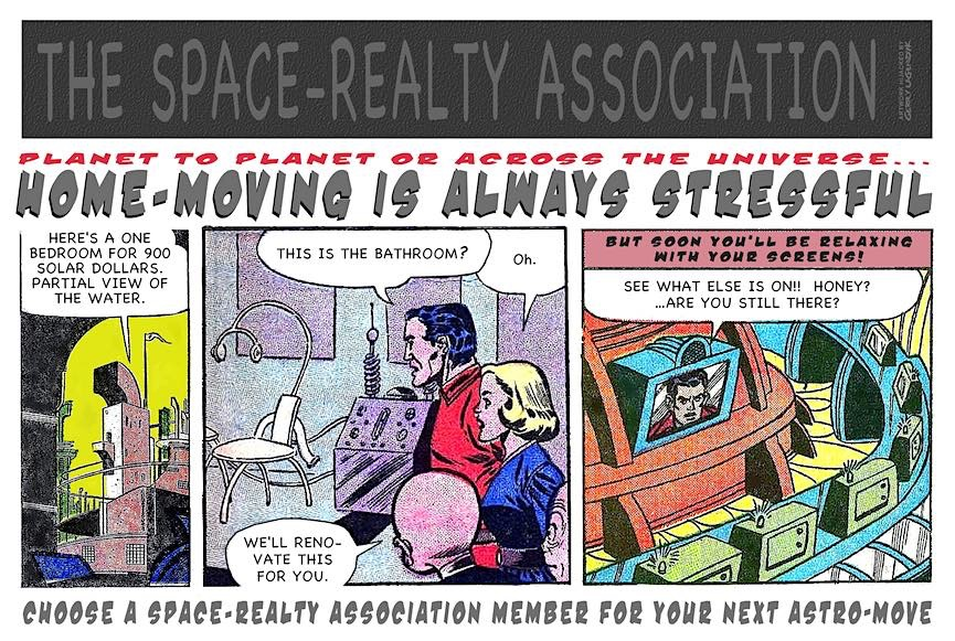 planet to planet, The Space Realty association is a parody comic by Gerry Lagendyk