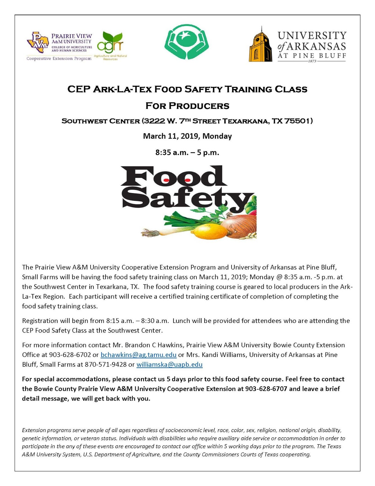 CEP Ark-La-Tex Food Safety Training Class | Cass County 4-H