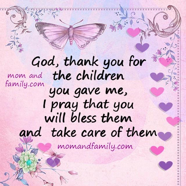 short prayer thank you God for my children, free christian prayer, image for praying for son / daughter by Mery Bracho