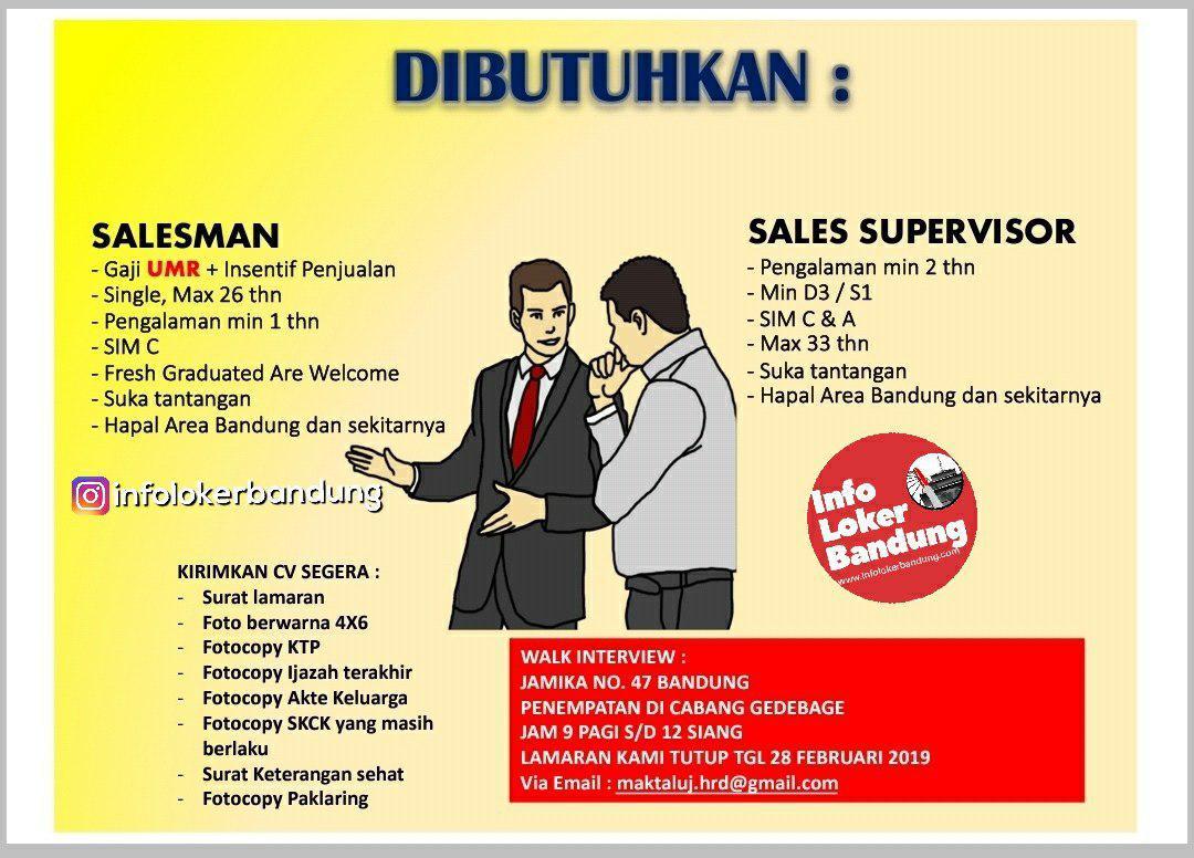 Lowongan Kerja PT. Maktal Utama Jaya Bandung Februari 2019