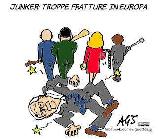junker, ue, unione europea, satira, vignetta