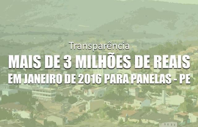 Governo Federal já transferiu mais de 3 milhões apenas no mês de Janeiro (2016) à Prefeitura de Panelas