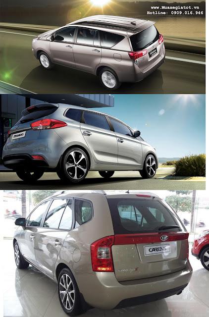so sanh toyota innova kia carens vs kia rondo 2 duoi xe - So sánh Toyota Innova 2016 hoàn toàn mới với Kia Carens và Rondo tại Việt Nam - Muaxegiatot.vn