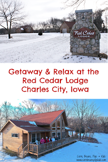 Getaway & Relax at the Red Cedar Lodge in Charles City, Iowa - log sided vacation cabin rentals open all year long #MWTravel #ThisIsIowa