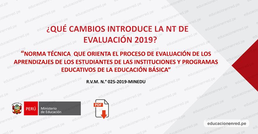 Conoce los cambios que introduce la Norma Técnica de Evaluación de los Aprendizajes en la Educación Básica 2019 (R. VM. Nº 025-2019-MINEDU) DESCARGAR .PDF