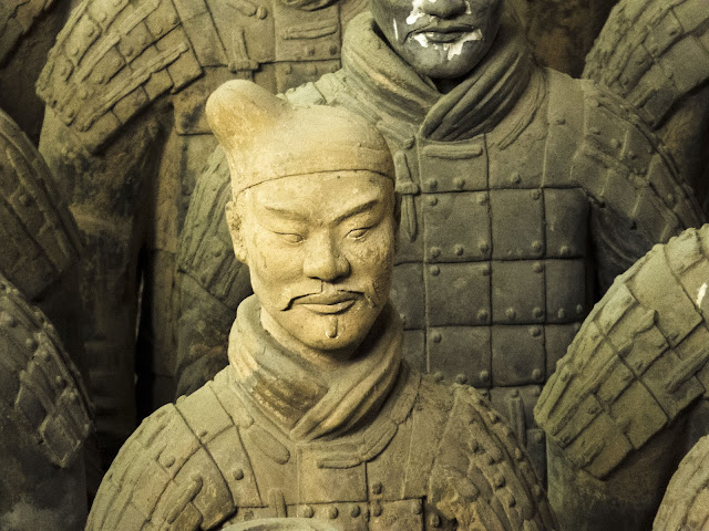 Portrait of 1 of the terracotta warriors near Xi'an China