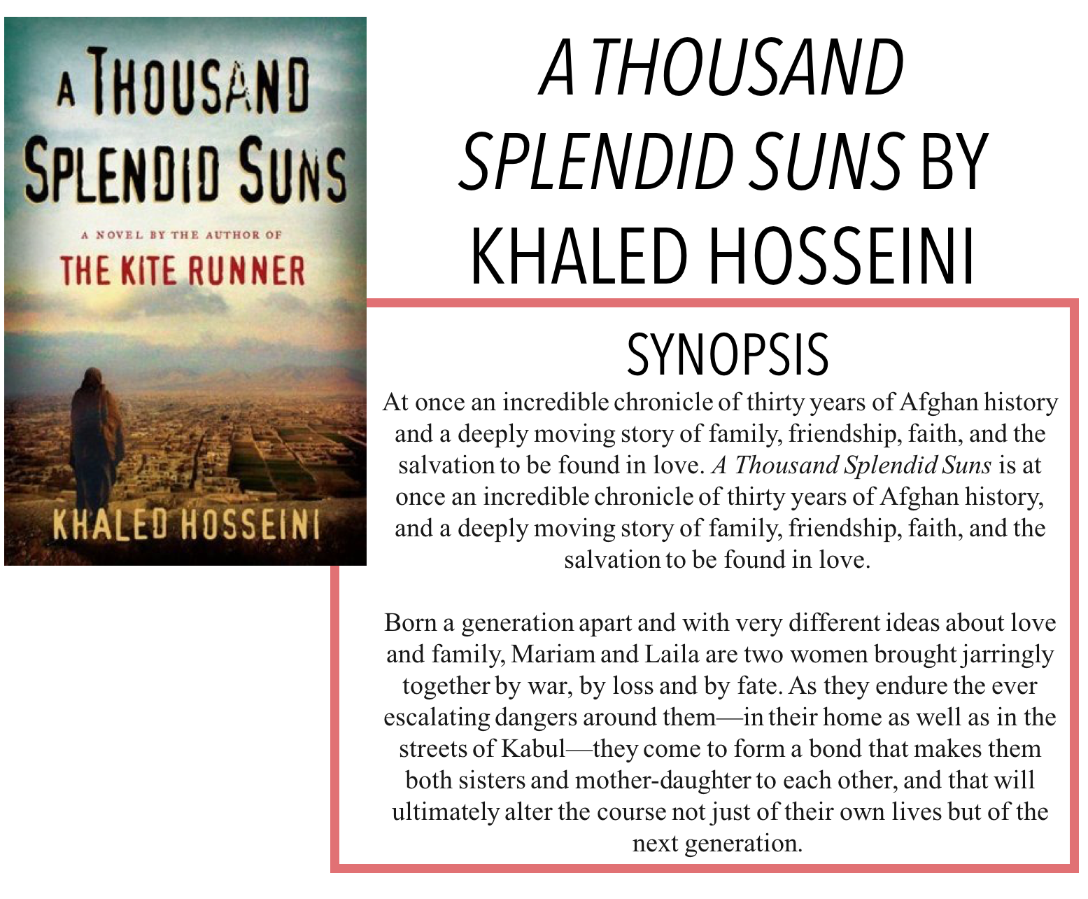 mariam and laila essay Multimedia essay- a thousand splendid suns in khaled hosseini's a thousand splendid suns, the inner strength of women is shown through mariam and laila.
