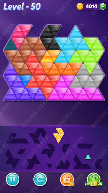 Block! Triangle Puzzle Champion Level 50 Solution, Cheats, Walkthrough for Android, iPhone, iPad and iPod