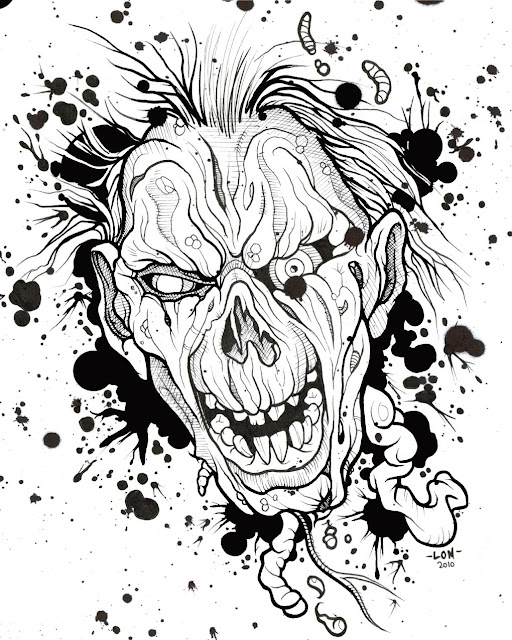 "© Lon Bennett 2010 - 2017 All Rights Reserved. - The Black Ink Series - Drawing 5 - ""Zombie"""