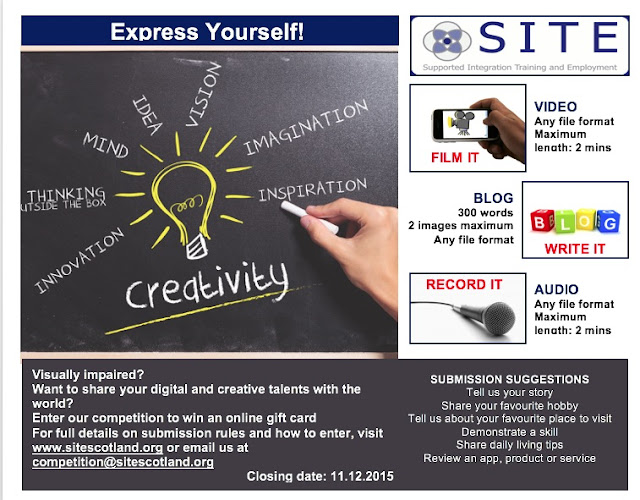 Digital Competition poster with a creativity theme centred around a lightbulb. There are details on how to enter for audio, video and written formats down the right hand side of the poster.