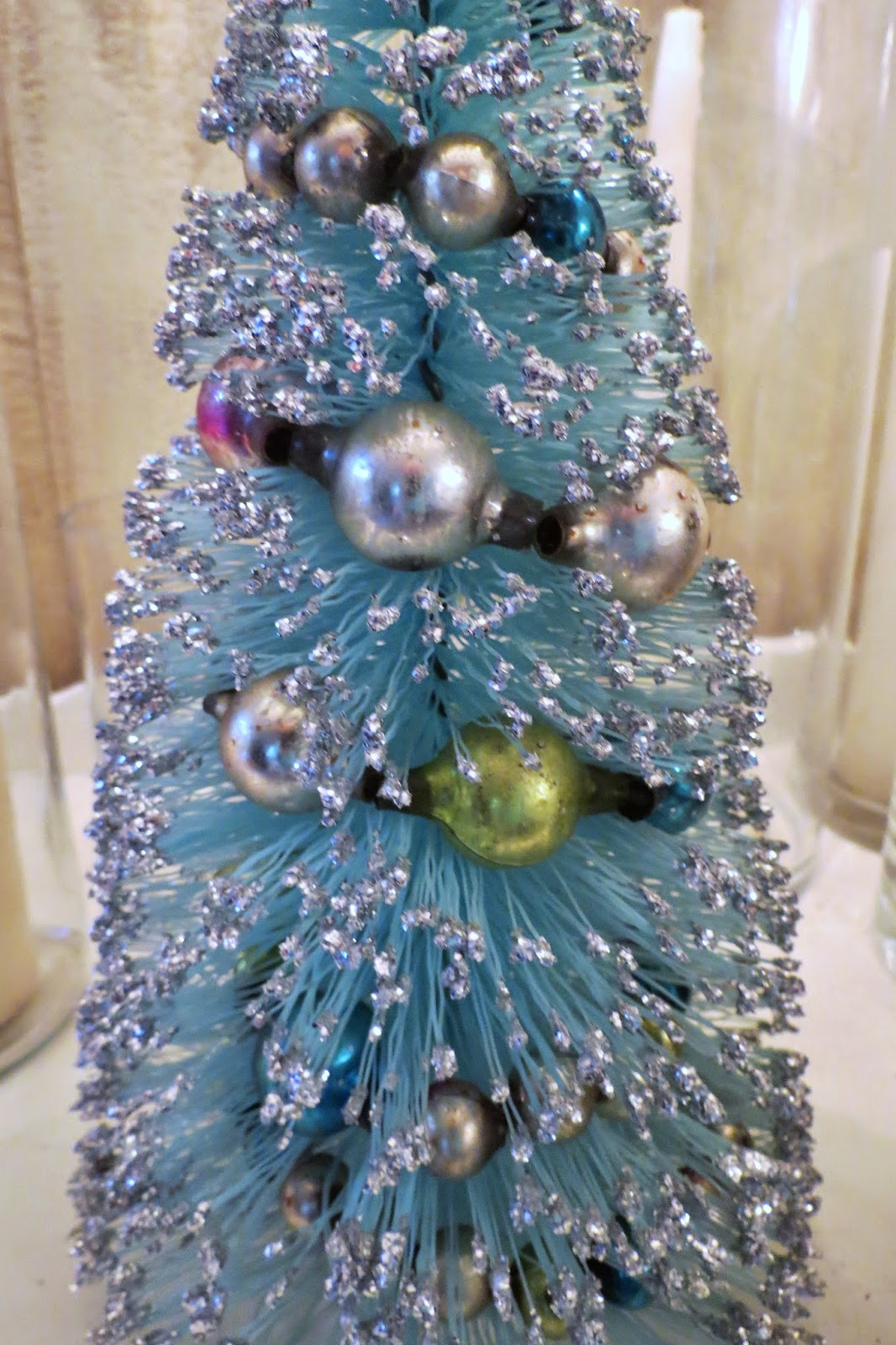 Sue bee and butterflies: vintage bottle brush christmas trees