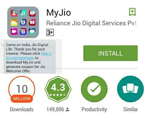 Android reliance My Jio app