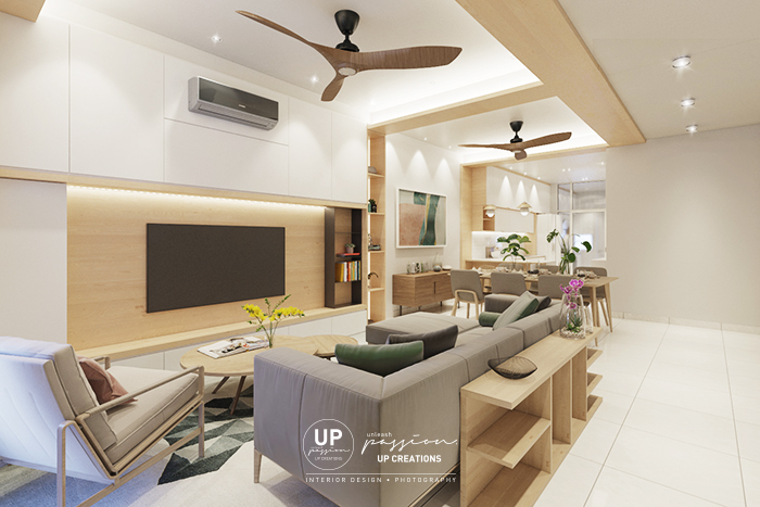 Bandar rimbayu penduline living area design in scandinavian style with wood texture and white color with special design from the wall to ceiling