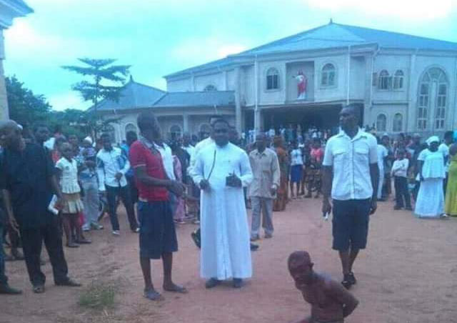 Graphic: Robbers beaten mercilessly in Catholic church as Rev Fr. watched helplessly