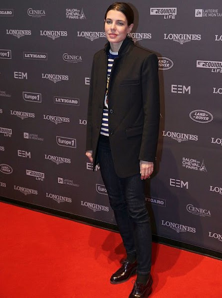 Charlotte Casiraghi wore Gucci Blazer, Gucci sweater and Gucci jeans for Longines Masters event in Villepinte, Paris.