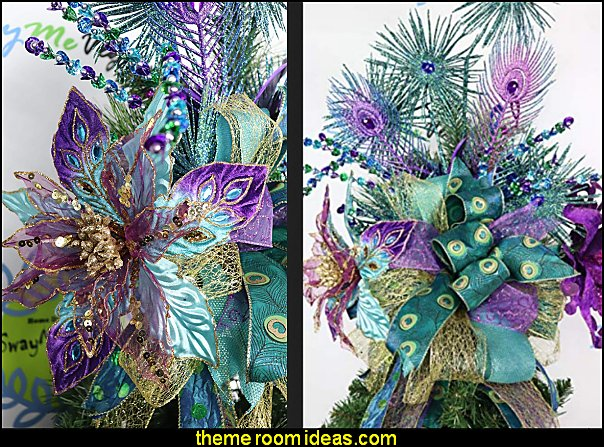 Purple Peacock Christmas Tree Topper  peacock color Christmas decorating - peacock color decorations - peacock themed Christmas - Peacock Tree Theme - peacock christmas tree decorations - Peacock Decorations - Peacock Tree Theme decorating Christmas Peacock - christmas feathered Peacock Christmas Ornaments - Peacock themed Christmas