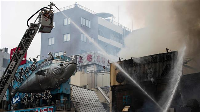 Tokyo's 80-year-old Tsukiji fish market catches fire
