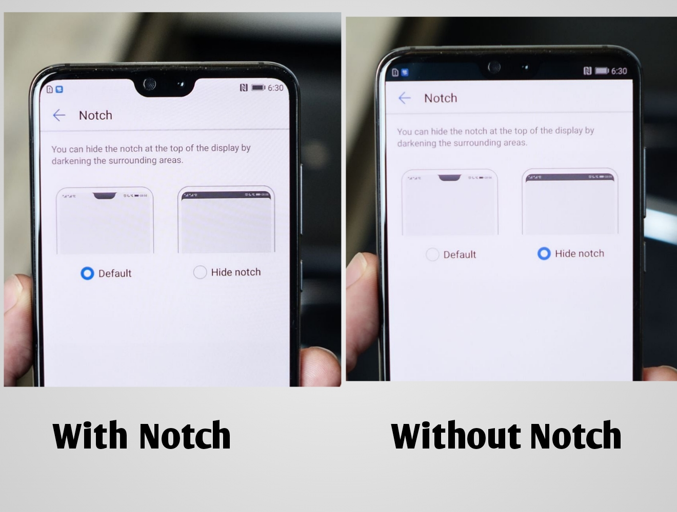 The notch modes on the Huawei P20 and P20 Pro