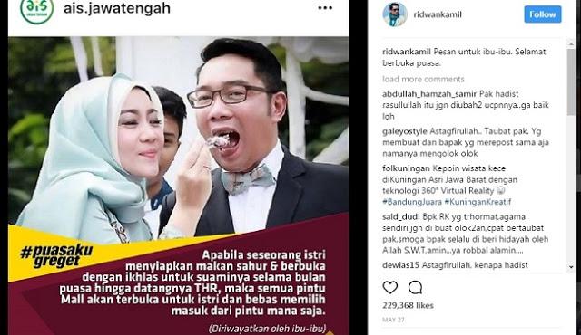 Posting Parodi Hadits, Ridwan Kamil Dihujani Kritik Netizen