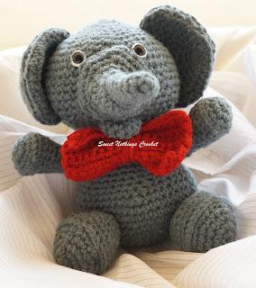 free crochet elephant toy pattern , free crochet headband pattern, free crochet elephant motif