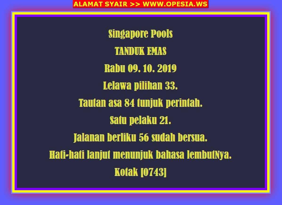 Kode syair Singapore Rabu 9 Oktober 2019 3