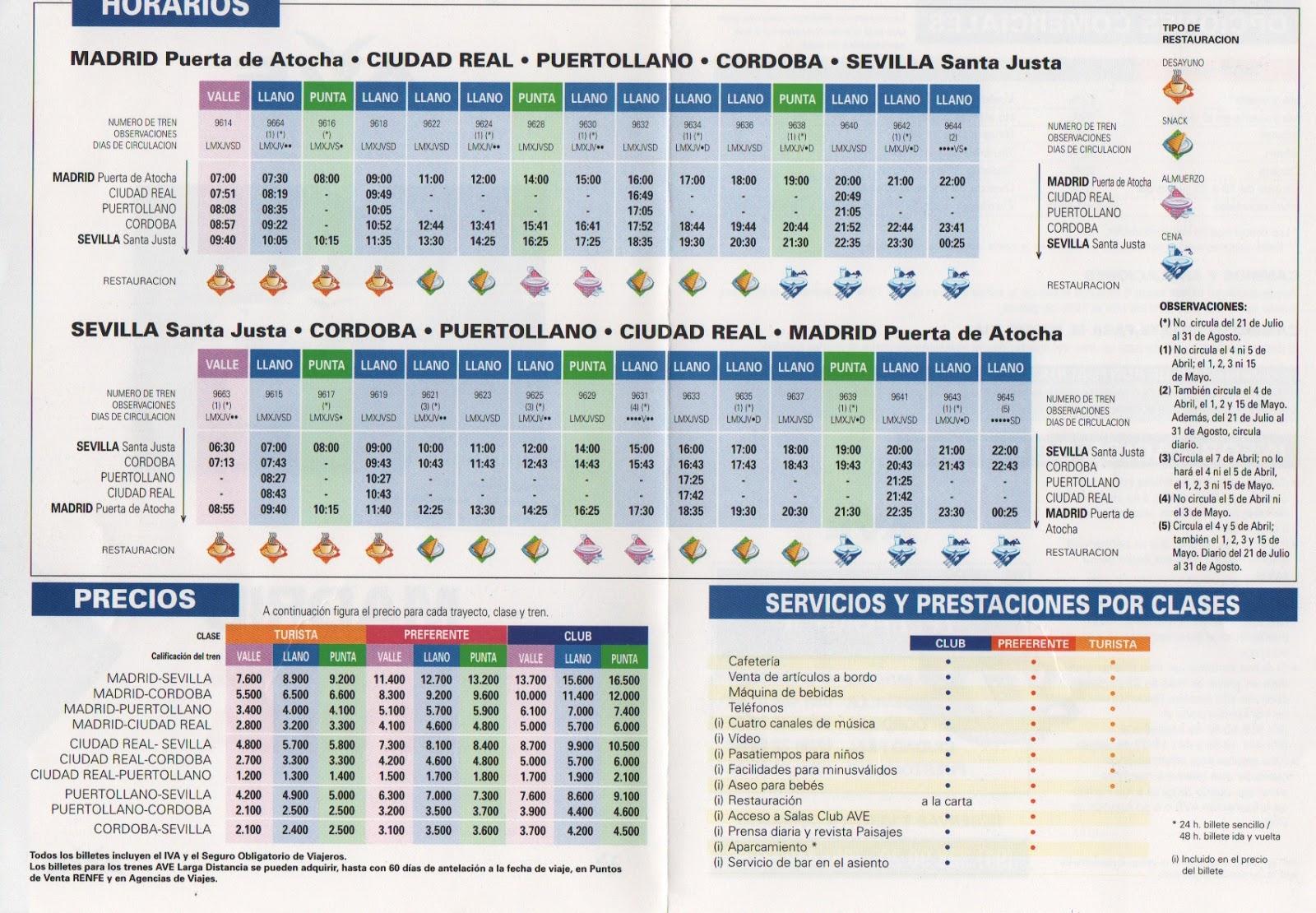 El guardagujas horarios del ave madrid sevilla de 1996 - Horario merkamueble sevilla ...