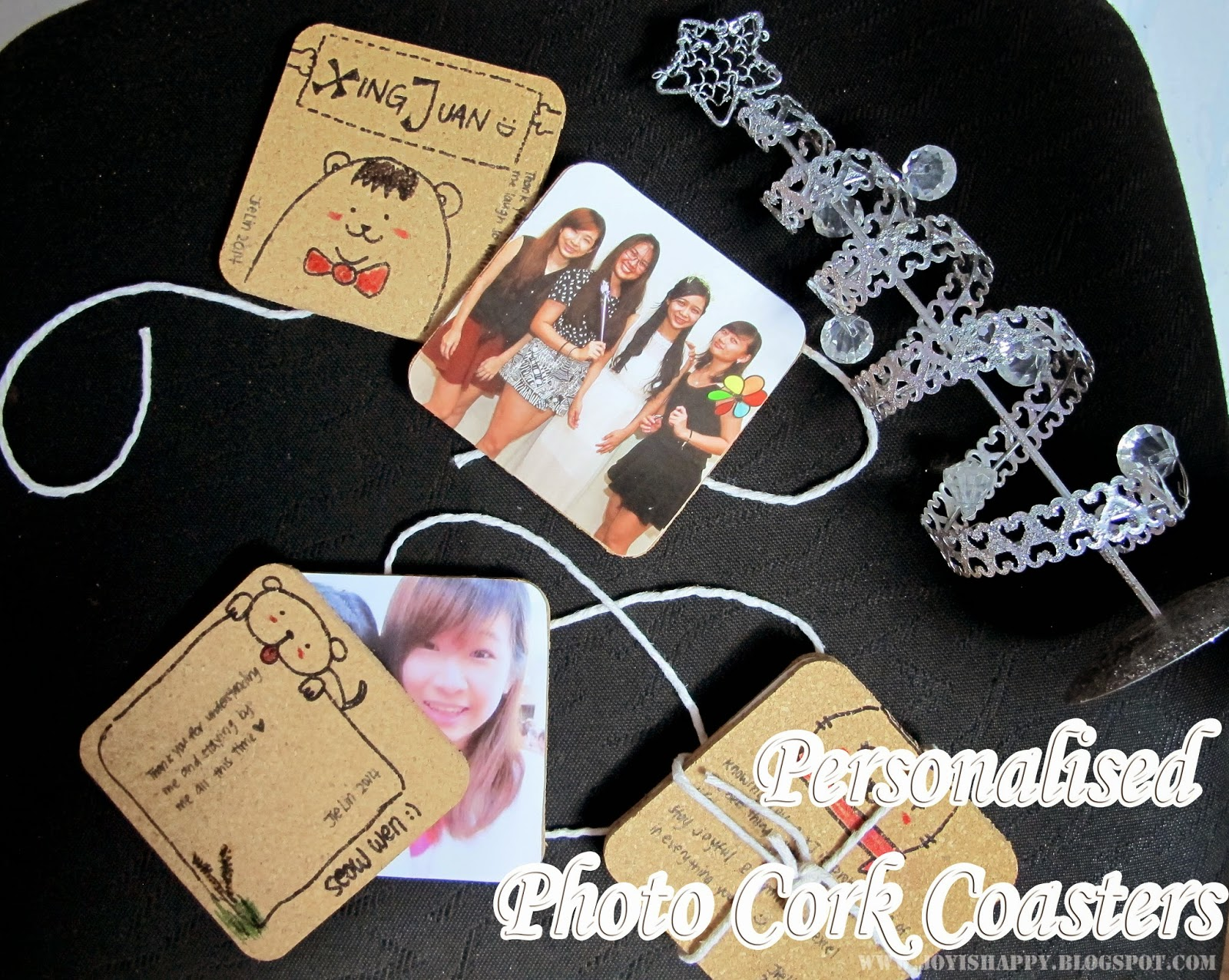 personalised photo cork coaster