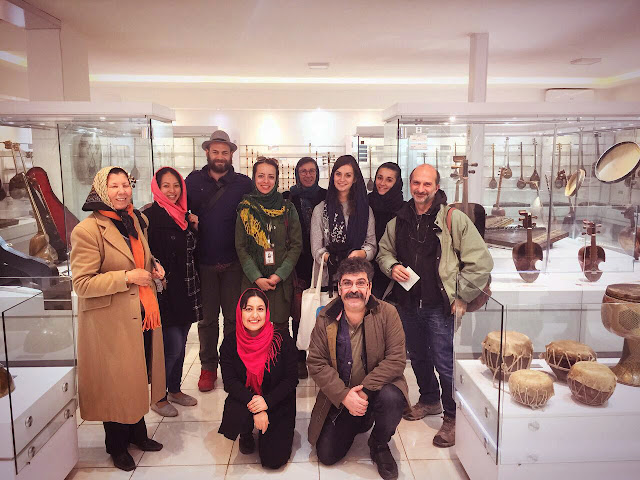 Group of Uppersia tourists in the Music Museum of Isfahan.