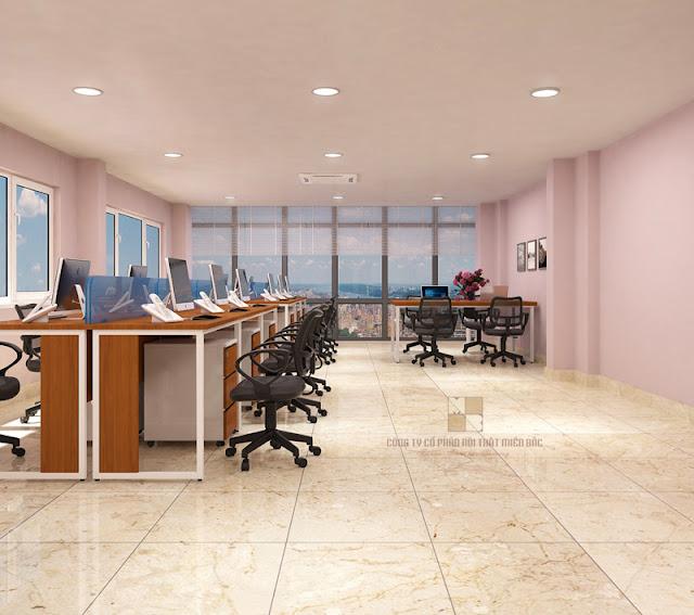 Thiết kế nội thất văn phòng hiện đại sử dụng bàn làm việc gỗ chân sắt có mẫu mã đơn giản kèm theo những chiếc ghế xoay bọc đệm cực êm ái được bài trí khoa học