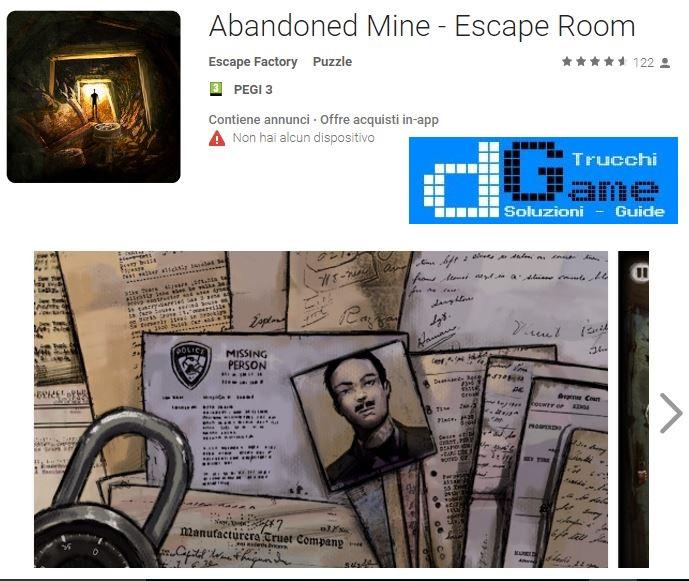 Soluzioni Abandoned Mine - Escape Room livello 1 2 3 4 5 6 7 8 9 10 | Trucchi e Walkthrough level